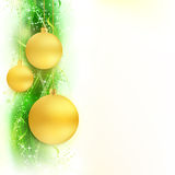 Green golden wavy border with baubles Royalty Free Stock Image