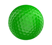 Green golf ball 3D render isolated on a white background. Green golf ball rendered in 3D and isolated on a white background Stock Image