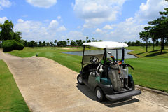 Green Golf Carts. Stand alone Stock Images