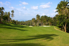 Green golf course. Landscape of a beautiful green golf course with sky. Island Koh Samui, Thailand Stock Image