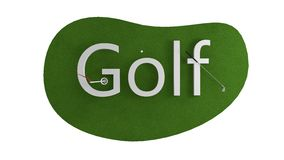 Green golf course animation. golf concept. isolate. 3d render Royalty Free Stock Photo