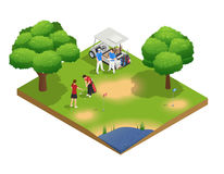 Green Golf Course Isometric Top View Composition. With people golfing and standing near cart vector illustration Royalty Free Stock Photo