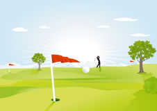 Green golf field. With red flag Royalty Free Stock Image