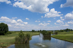 Green golf field and blue cloudy sky. Green golf field and blue  sky Royalty Free Stock Photography