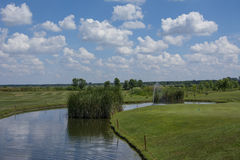 Green golf field and blue cloudy sky. Green golf field and blue  sky Royalty Free Stock Photos