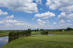 Green golf field and blue cloudy sky. Green golf field and blue  sky Royalty Free Stock Photo