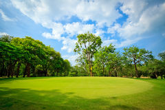 Green golf field with cloudy sky Royalty Free Stock Photo