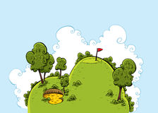 Green Golf Hill. A lush, green cartoon hill on a golf course on a bright day Stock Photo