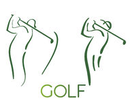 Green golf icons silhouette. Isolated on white,  illustration Royalty Free Stock Images