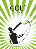 Green golf icons silhouette. With green stripes,  illustration Royalty Free Stock Image
