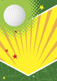 Green golf poster with stars and sun. Vector illustration Stock Photos