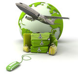 Green golf trip flight booking. The Earth, a plane taking off, a pile of luggage including suitcases, briefcases, golf bag, connected to a computer mouse in Stock Photo