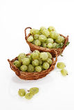 Green gooseberries in baskets Royalty Free Stock Photo