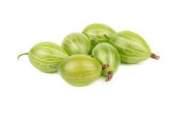 Green gooseberries. Some berries of green gooseberry on a white background Royalty Free Stock Images