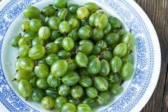 Green gooseberries on white plate Stock Images
