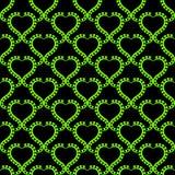 Goth Hearts Wallpaper Seamless Pattern. Green gothic hearts wallpaper background. Background seamless pattern texture Stock Image