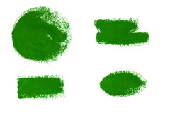 Green gouache paint stains and strokes. Collection of green gouache brush strokes isolated on white background. Green gouache paint stains and strokes. Bright royalty free illustration