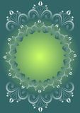 Green gradient background with folklore floral patterns composed in circle as vintage frame, blank space for own text, message, in Stock Photography