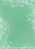 Green gradient winter paper background with snowflake border Stock Image