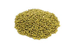 Green gram. Green mung beans isolated on white royalty free stock photos