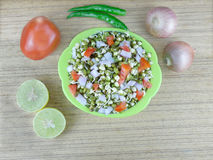 Green Gram Sprouts Salad. Salad made from sprouted green grams (lentils), onions and tomatoes Royalty Free Stock Image