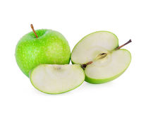 Green granny smith apple with a Drop of water on white backgroun Stock Photos