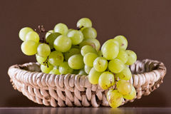 Green grape on basket. Photo of natural green geape placed in pedig basket Stock Photos