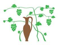 Green grape and brown jug - vector Stock Photography