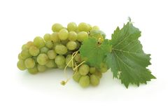 Green grape cluster. Isolated green grape cluster and leaf Royalty Free Stock Photo