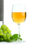Green grape cluster and wine Royalty Free Stock Photo