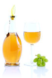 Green grape cluster and wine Stock Image
