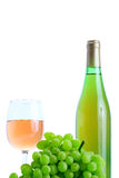 Green grape cluster and wine Royalty Free Stock Photos