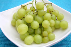 Green grapes. Some fresh green grapes in a bowl stock photography