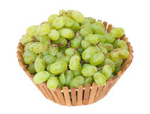 Green grapes in a basket Royalty Free Stock Photos
