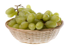 Green Grapes in Basket Isolated Royalty Free Stock Image
