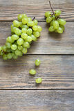 Green grapes on the boards Stock Photos