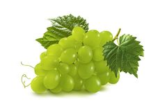 Green grapes bunch isolated on white background Royalty Free Stock Photography