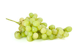 Green grapes bunch (muscat breed). Isolated on the white background Stock Photos