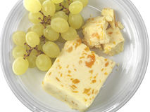 Green Grapes with Cheese Stock Images