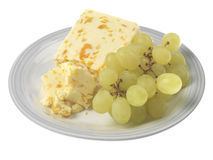 Green Grapes with Cheese Royalty Free Stock Image