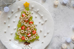 Green grapes Christmas tree - dessert snack breakfast for kids Royalty Free Stock Photography