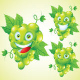 Green grapes face expression cartoon character set Stock Image