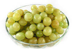 Green grapes in glass bowl isolated Stock Photo
