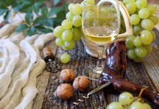 Green grapes and glass of white wine Royalty Free Stock Photos