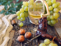 Green grapes and glass of white wine Stock Photography