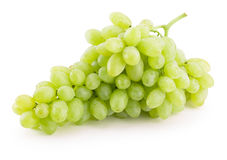 Green grapes isolated on a white background.  Royalty Free Stock Images