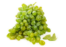 Green grapes over white Stock Image