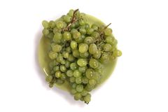 Green grapes on plate Stock Photos