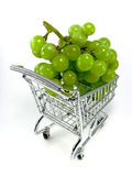 Green grapes in shopping cart Stock Image