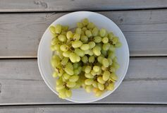 Green grapes top view stock photography